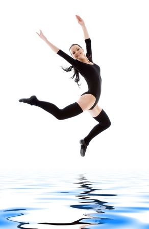 picture of jumping girl in black leotard over white Stock Photo - 6071827