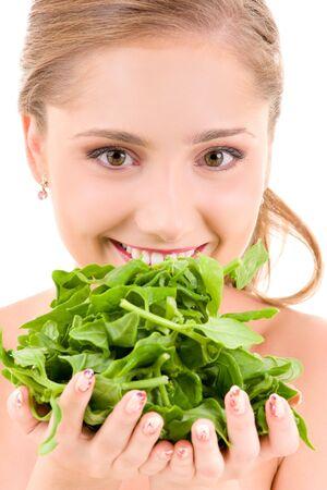 spinaci: immagine di donna felice con spinaci over white Archivio Fotografico