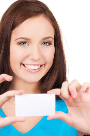 happy girl with business card over white photo