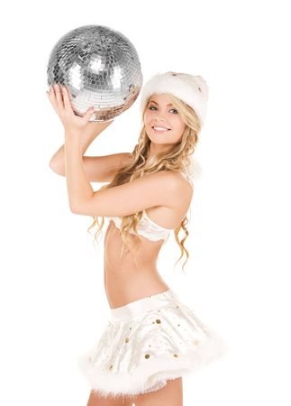 picture of sexy santa helper with disco ball Stock Photo - 6104781