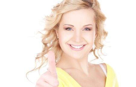 bright picture of lovely woman with thumbs up photo