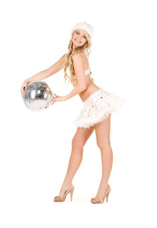picture of sexy santa helper with disco ball Stock Photo - 6105140