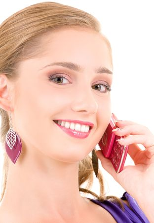 portrait of happy girl with pink phone Stock Photo - 6105317