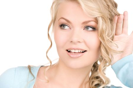 bright picture of young woman listening gossip Stock Photo - 6105289