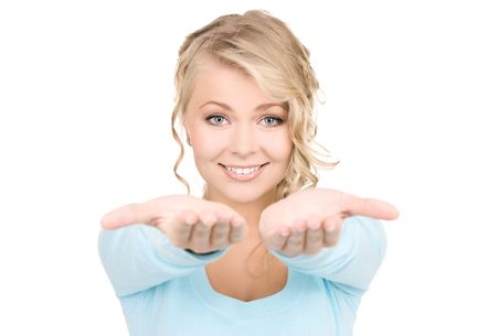 beautiful woman showing palms of her hands Stock Photo - 6105261