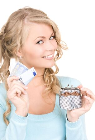 picture of lovely woman with purse and money Stock Photo - 6105271