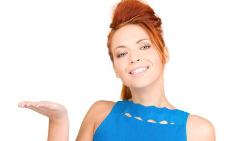 beautiful woman showing something on the palm of her hand Stock Photo - 6104964