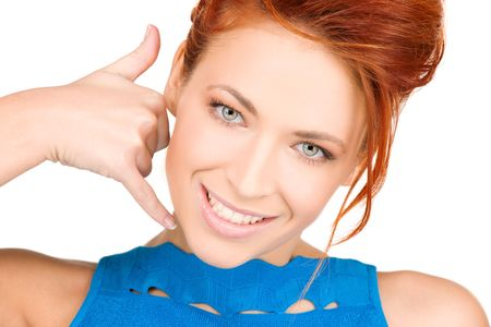 picture of lovely woman making a call me gesture Stock Photo - 6105284