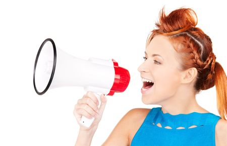 picture of redhead woman with megaphone over white Stock Photo - 6105318