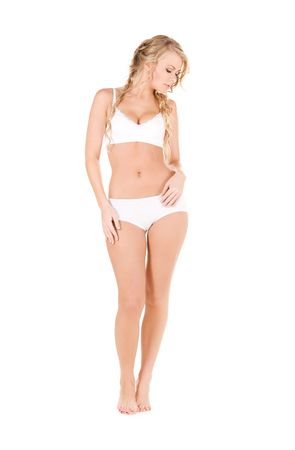 picture of lovely woman in white cotton underwear Stock Photo - 6136210