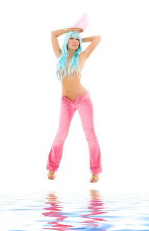 girl in pink with blue hair over white Stock Photo - 6136201