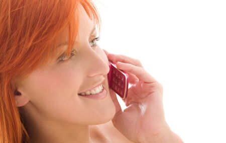 picture of happy redhead woman with cell phone photo