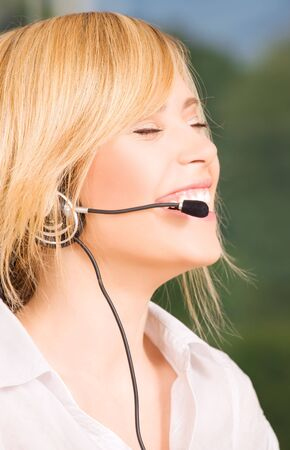 bright picture of friendly female helpline operator Stock Photo - 6136240
