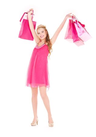 happy woman with shopping bags over white Stock Photo - 6140793