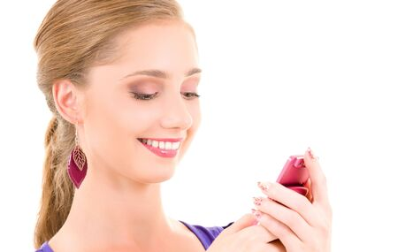 picture of happy teenage girl with cell phone Stock Photo - 6155768