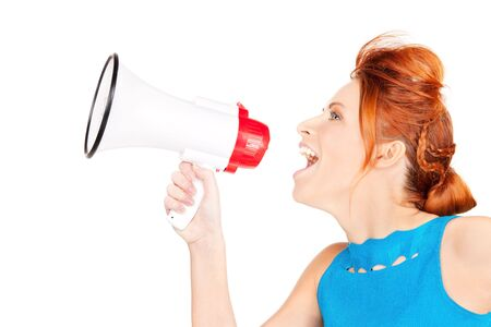 picture of redhead woman with megaphone over white Stock Photo - 6155766