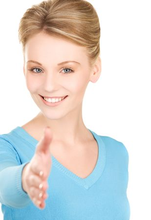 lovely woman with an open hand ready for handshake Stock Photo - 6172165
