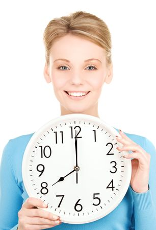picture of woman holding big clock over white Stock Photo - 6172185