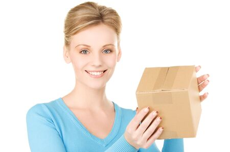 picture of businesswoman with parcel over white Stock Photo - 6172166