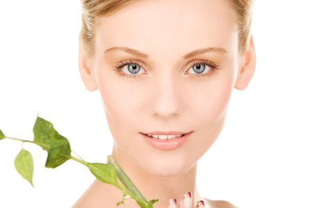 relax skin: picture of woman with sprout over white