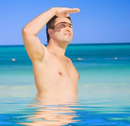 picture of happy tanned man on the beach Stock Photo - 6357919