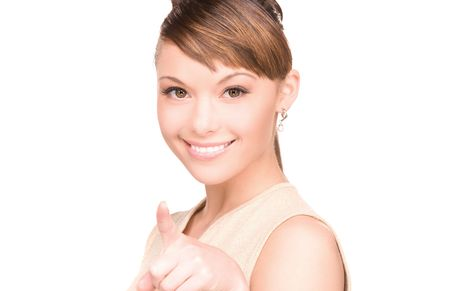 picture of attractive young woman pointing her finger photo