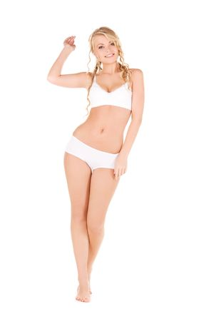 picture of lovely woman in white cotton underwear photo