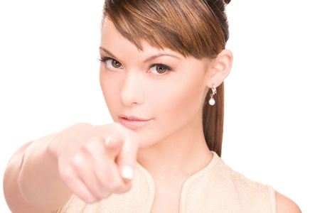 picture of attractive young woman pointing her finger Stock Photo - 6375961