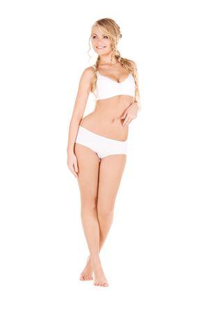 cotton panties: Foto de mujer encantadora en ropa interior de algod�n blanco