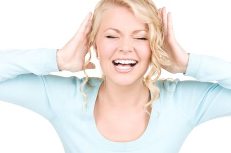 hands over ears: picture of happy screaming woman with hands over ears Stock Photo