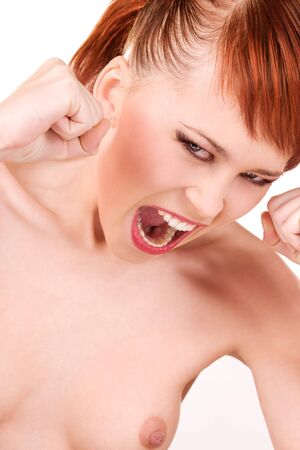 picture of angry fighting girl over white Stock Photo - 6376003