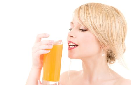 bright picture of lovely girl with glass of juice photo