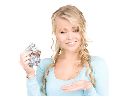 picture of lovely woman with purse and money Stock Photo - 6398392