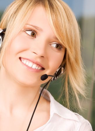 bright picture of friendly female helpline operator Stock Photo - 6398390