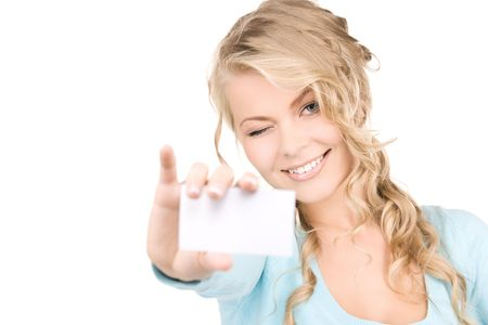 happy girl with business card over white Stock Photo - 6408498