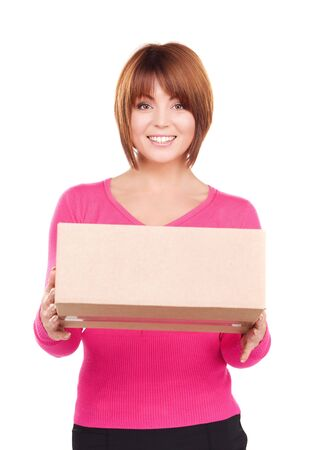 order delivery: picture of businesswoman with parcel over white