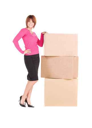 picture of businesswoman with boxes over white Stock Photo - 6408513
