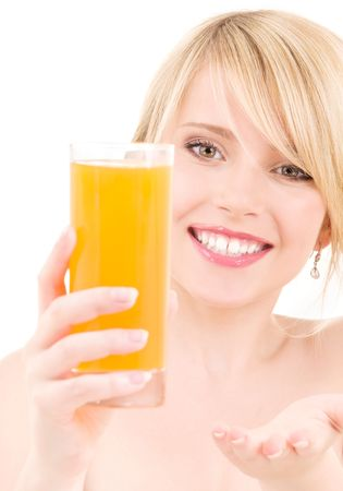 bright picture of lovely girl with glass of juice Stock Photo - 6408530
