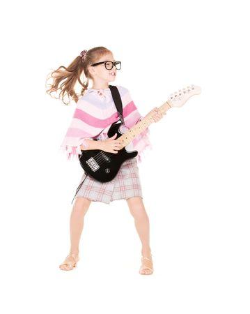 Foto de gracioso en especificaciones con guitarra el�ctrica Foto de archivo