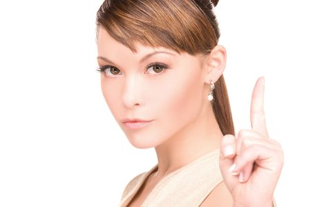 picture of attractive young woman with her finger up Stock Photo - 6424672
