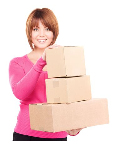 picture of businesswoman with parcels over white photo