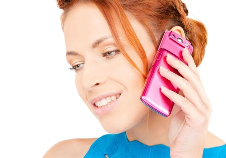 portrait of happy woman with pink phone photo
