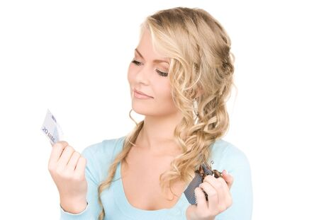 picture of lovely woman with purse and money photo