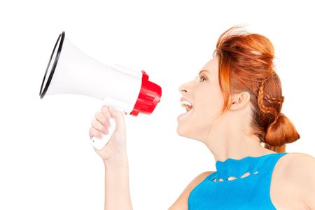 picture of redhead woman with megaphone over white Stock Photo - 6469402