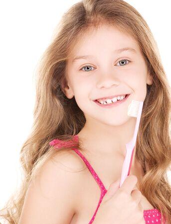 dentudo: Foto de la ni�a feliz con cepillo sobre blanco
