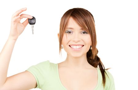 picture of happy teenage girl with car key photo