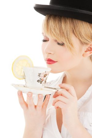 bright picture of lovely girl with cup of tea photo