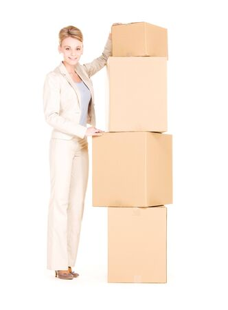 picture of businesswoman with boxes over white Stock Photo - 6469415