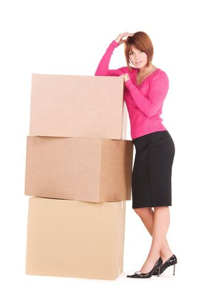picture of businesswoman with boxes over white Stock Photo - 6510063