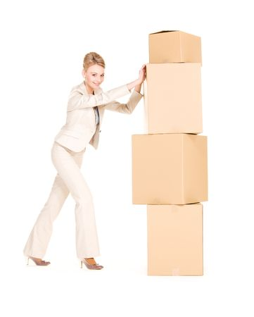 picture of businesswoman with boxes over white Stock Photo - 6510092